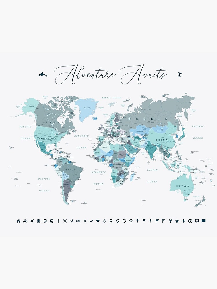 Adventure Awaits World Map in Teal by UrbanEpiphany
