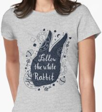 Follow the white rabbit vintage illustration with rabbit's head. Women's Fitted T-Shirt