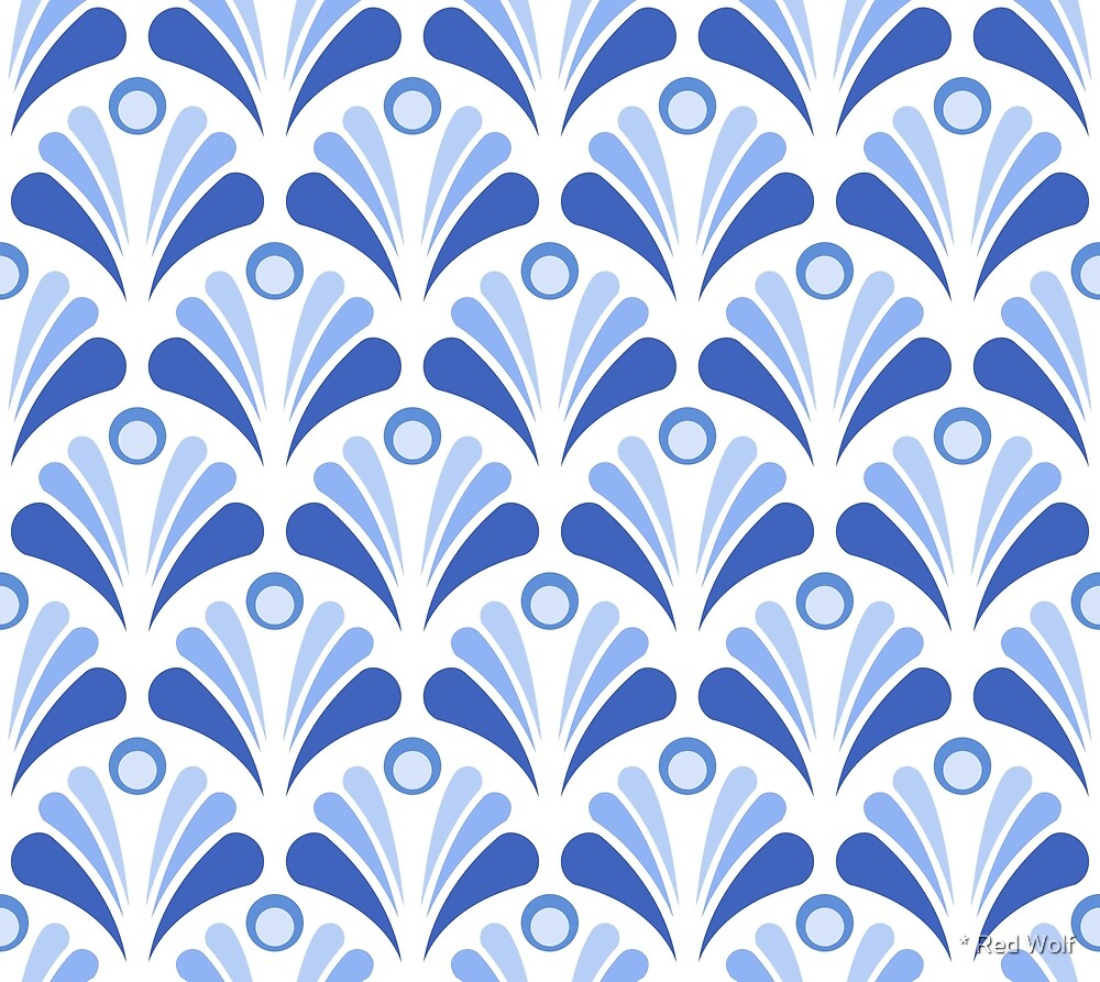 Geometric Pattern: Art Deco: Peacock: Blue by * Red Wolf