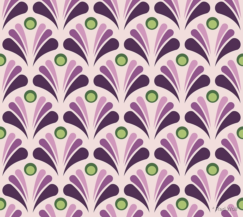 Geometric Pattern: Art Deco: Peacock: Violet by * Red Wolf