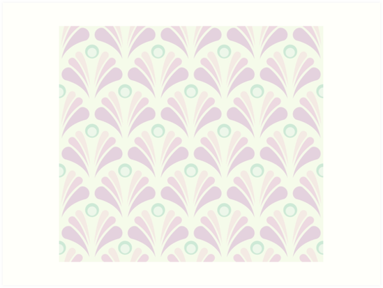 Geometric Pattern: Art Deco: Peacock: Marshmallow by * Red Wolf