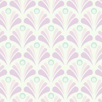 Geometric Pattern: Art Deco: Peacock: Marshmallow by redwolfoz