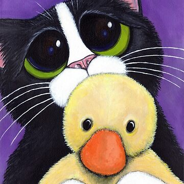 Scared Tuxedo Cat with Toy Duck by LisaMarieArt
