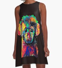 Cute Baby Monkey Colored Design A-Line Dress