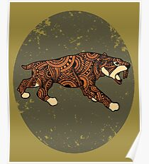 Saber-toothed cat mandala Poster