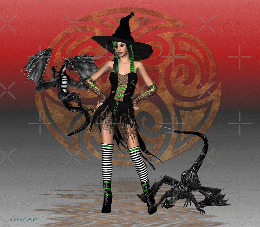 June .. A Witch with two dragons by LoneAngel