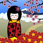 kokeshi with cherry blossom by Kerry  Youde