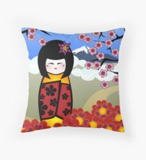 kokeshi with cherry blossom Throw Pillow