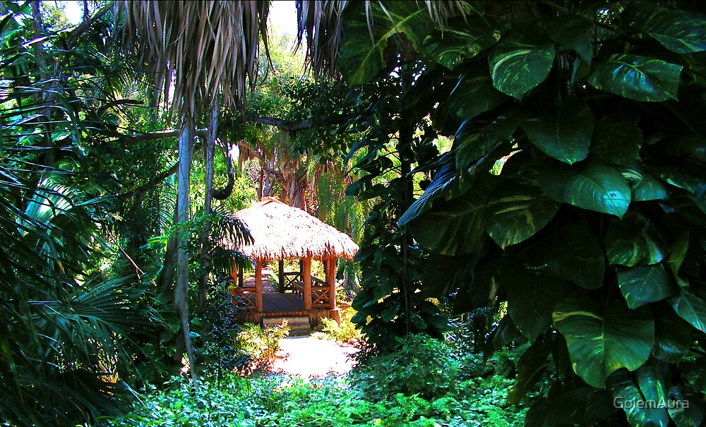 Bridge Framed in Foliage by GolemAura