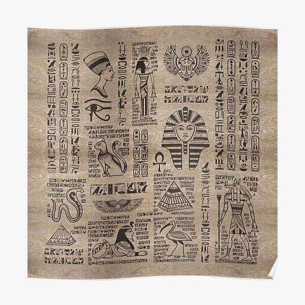 Egyptian hieroglyphs and symbols on wood Poster