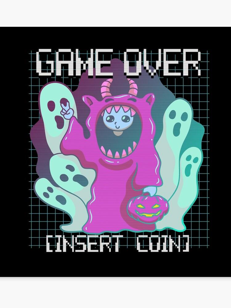 Halloween Stickers Aesthetic.Retro Aesthetic Vaporwave Game Over Ghost Halloween Pastel Goth Canvas Print