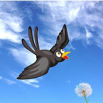 happy blackbird flying through a blue sky by headpossum
