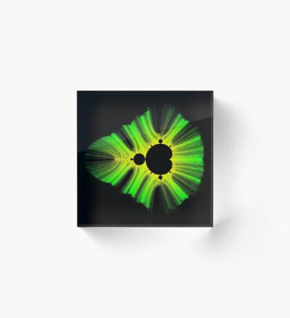 Green Yellow Kirlian Mandelbrot Acrylic Block