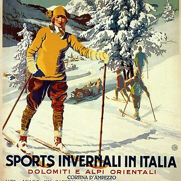 Early 1920s winter sports Italy travel advert Alps by aapshop