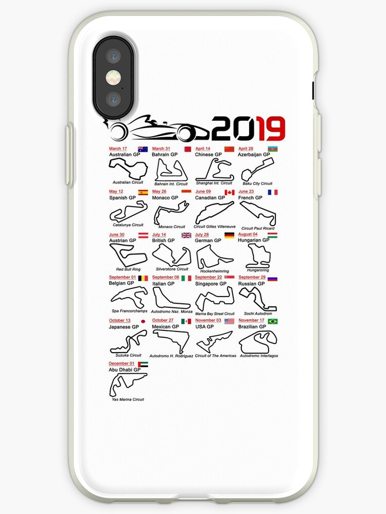 'Calendar race cars 2019 named circuits white' iPhone Case by ideasfinder