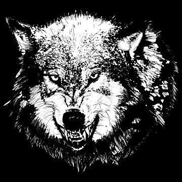 WHITE WOLF HUSKY Angry Roar Animal Lover Design by mrkprints