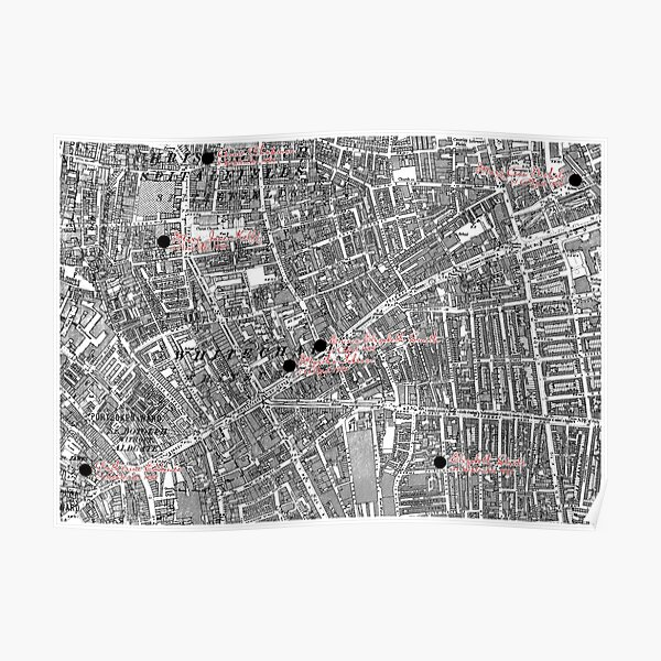 Jack the Ripper map Poster