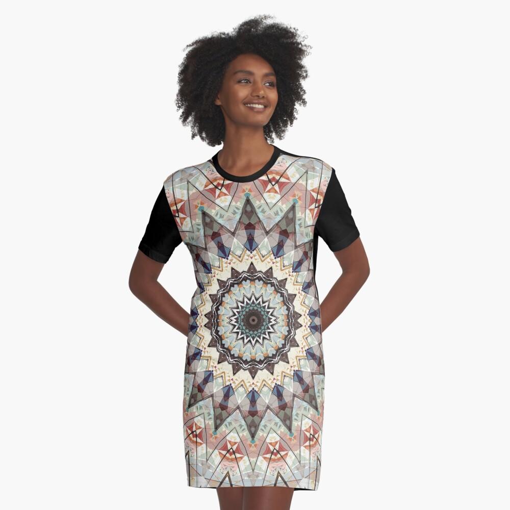 Colors of Autumn Mandala Graphic T-Shirt Dress