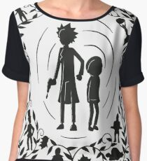 Rick and Morty Black/White Chiffon Top