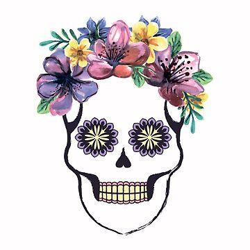 Santa Muerte with a wreath of watercolor flowers by alijun