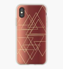 copper, gold, triangles, geometry, pattern, textures,  iPhone Case
