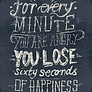 For every minute you are angry you lose sixty seconds of happiness by mikekoubou