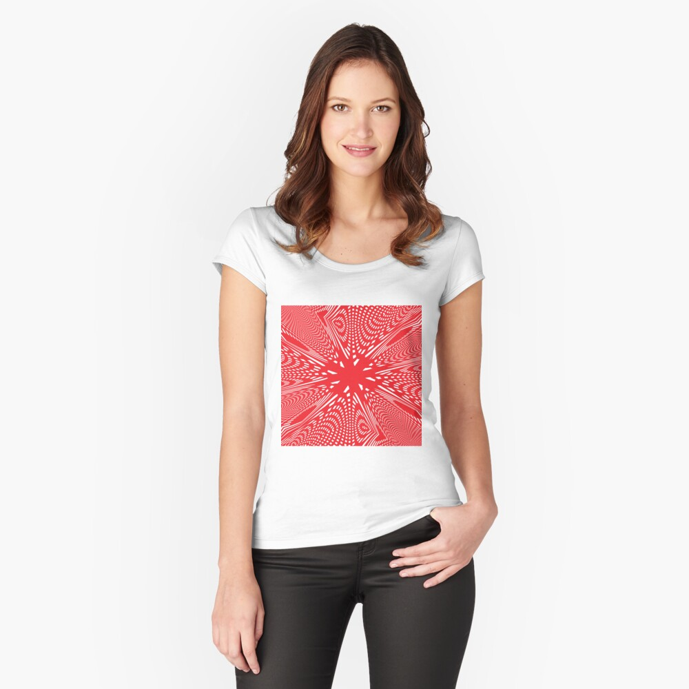 Art #Art #abstract #pattern #design #blue #fractal #wallpaper #digital #graphic #texture #green #art #backdrop #pink #light #red #flower #decorative #star #purple #white #color #psychedelic #geom Fitted Scoop T-Shirt