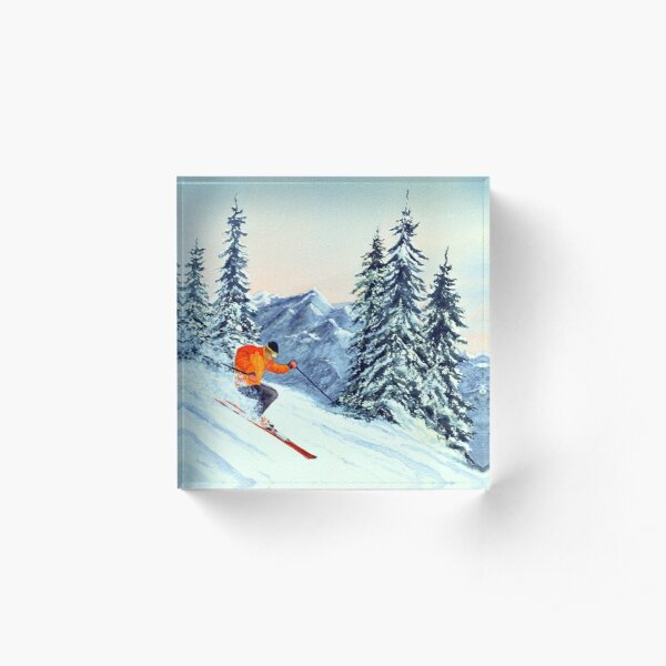 Skiing - The Clear Leader Acrylic Block