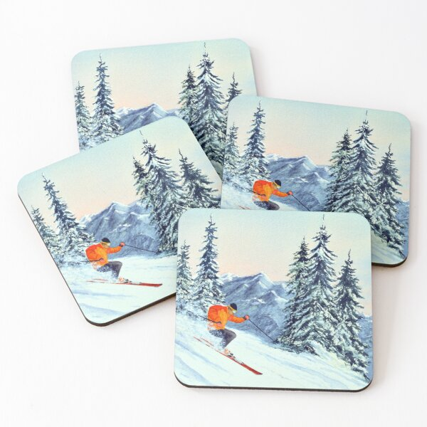 Skiing - The Clear Leader Coasters (Set of 4)