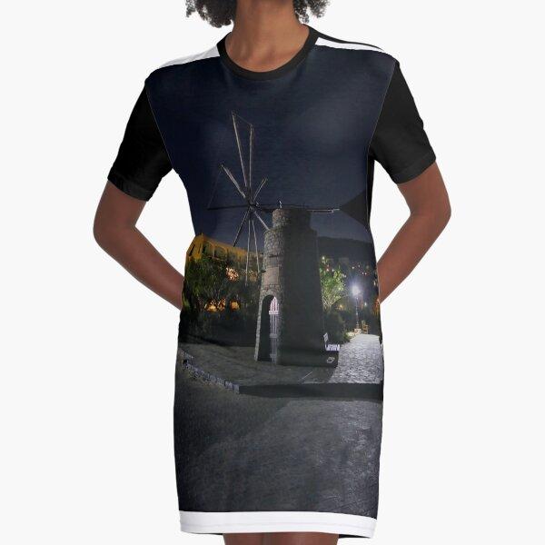 Cretan Windmill at Night Graphic T-Shirt Dress