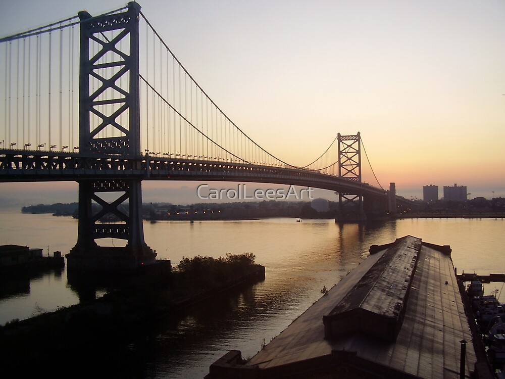 Dawn, Ben Franklin Bridge in Philly by CarolLeesArt