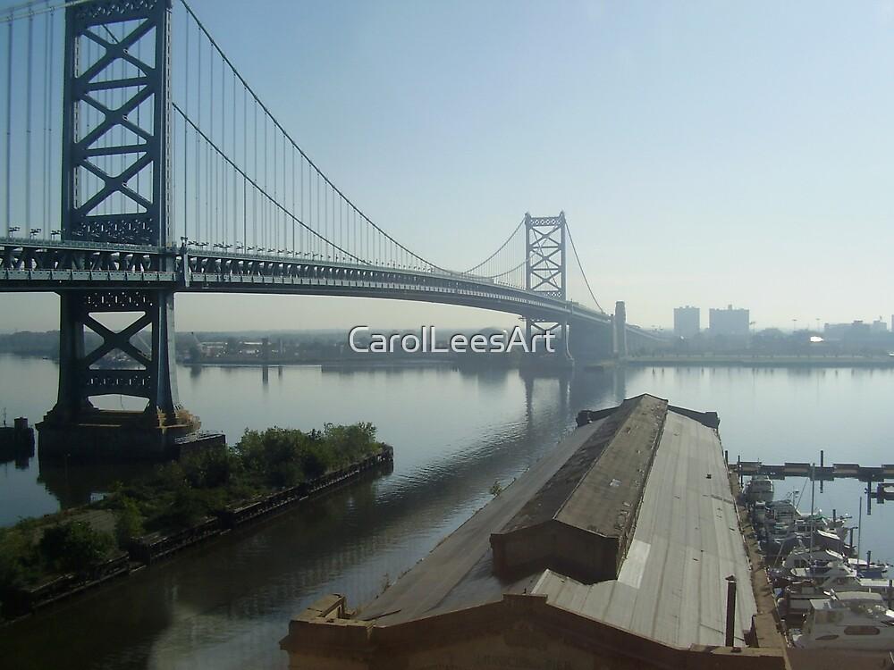 Mid-day Ben Franklin Bridge, Philly by CarolLeesArt