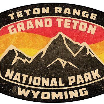 Grand Teton National Park Wyoming Vintage Grunge Distressed by MyHandmadeSigns