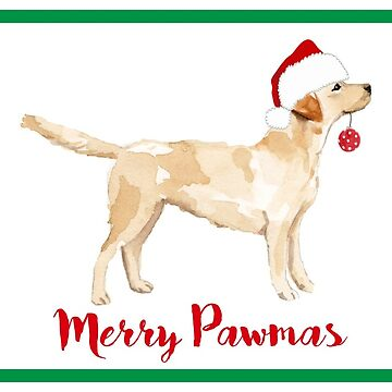 Christmas Yellow Lab Silhouette Watercolor by emrdesigns