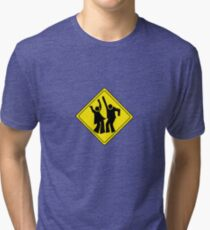 DANCERS CROSSING WARNING ROAD SIGN Tri-blend T-Shirt