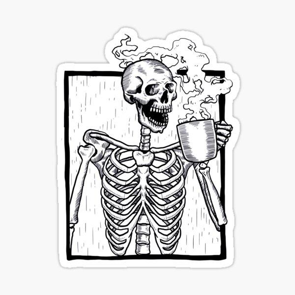 halloween coffee drinking skeleton  Sticker