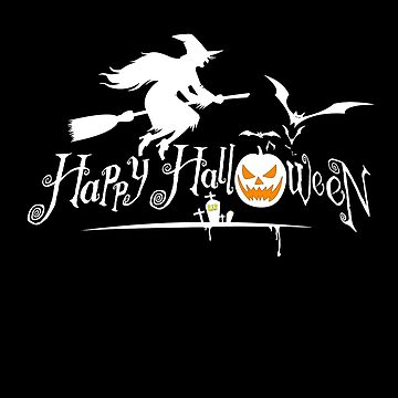 Happy Halloween Bat and Witch T-shirt by Kiraly