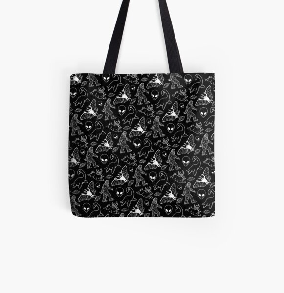 Cryptid Pattern (Black Background) All Over Print Tote Bag
