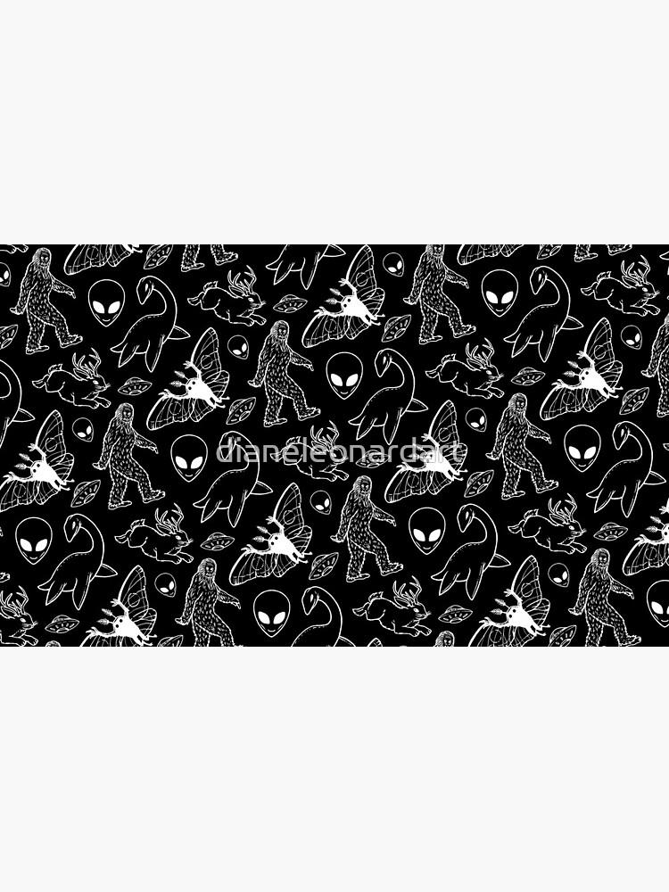 Cryptid Pattern (Black Background) by dianeleonardart