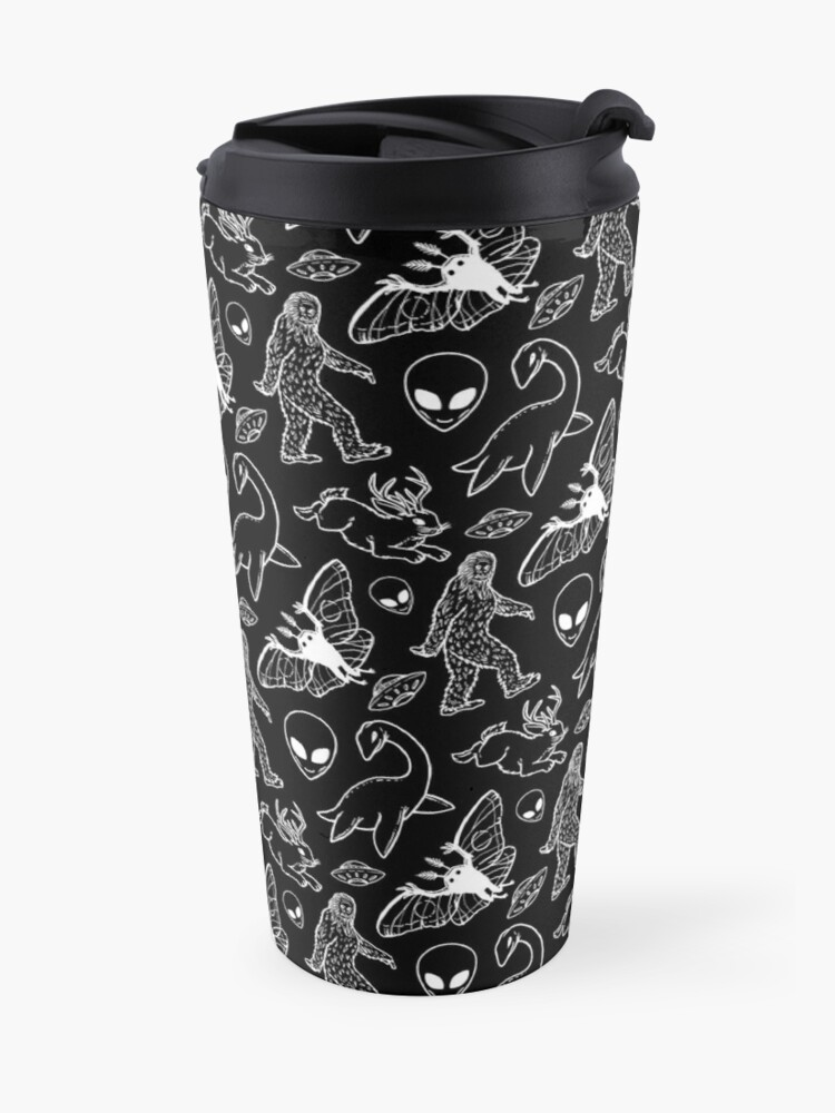 Alternate view of Cryptid Pattern (Black Background) Travel Mug