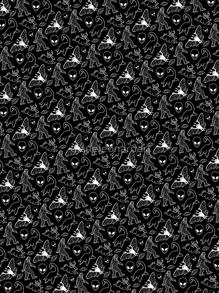 Cryptid Pattern (Black Background) by dianeleonardart