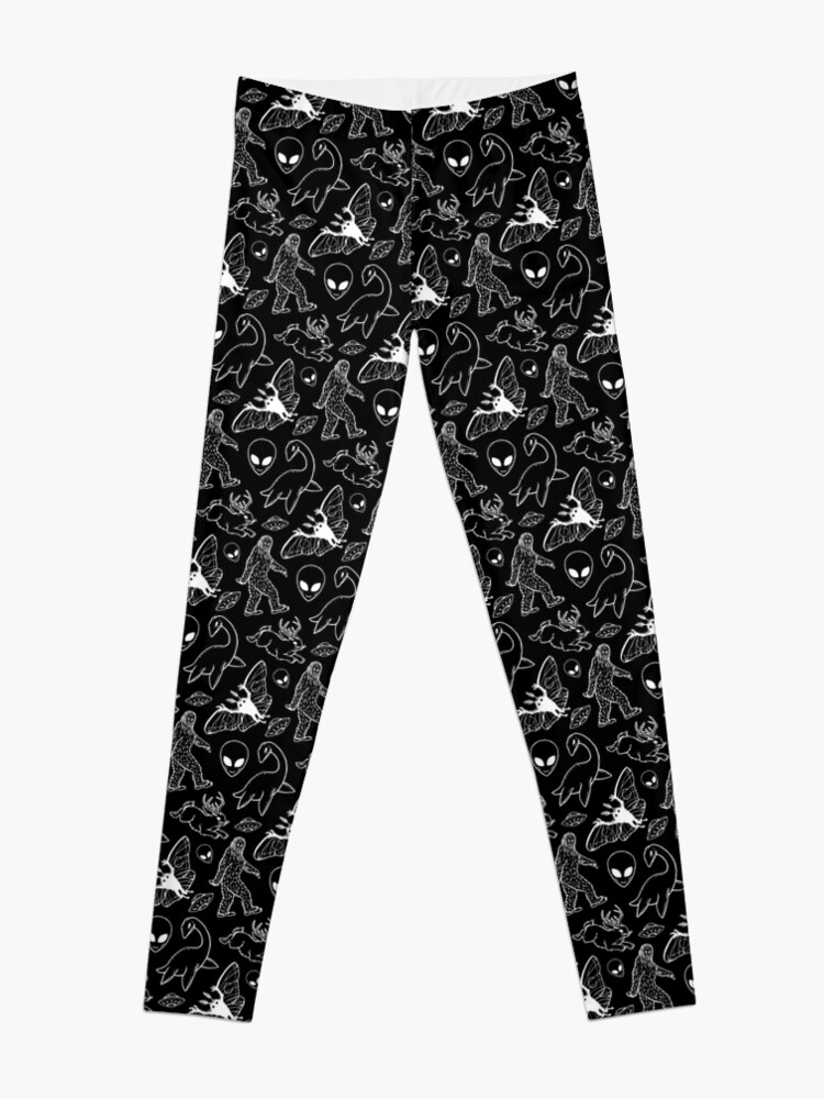 Alternate view of Cryptid Pattern (Black Background) Leggings