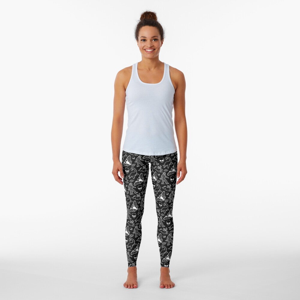 Cryptid Pattern (Black Background) Leggings