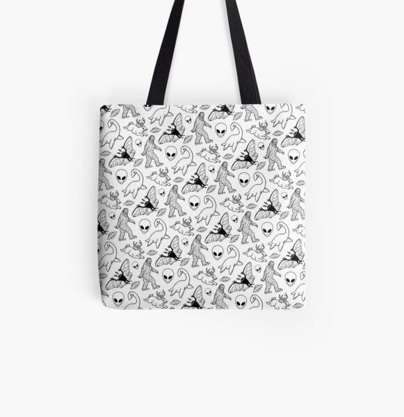 Cryptid Pattern (White Background)  All Over Print Tote Bag