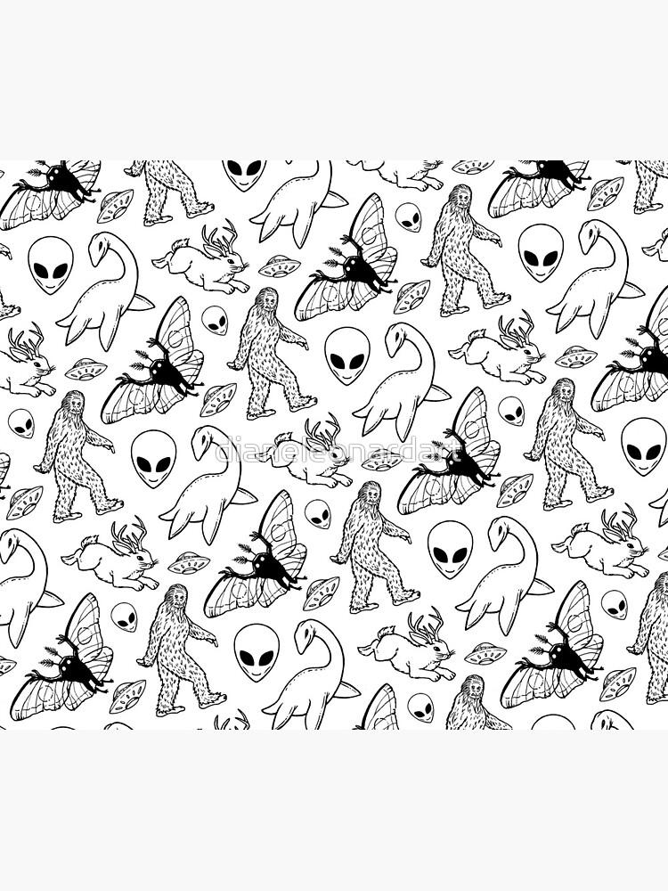 Cryptid Pattern (White Background)  by dianeleonardart