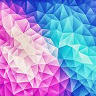 Pink - Ice Blue / Abstract Polygon Crystal Cubism Low Poly Triangle Design by badbugs