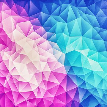 Rosa - Ice Blue / Abstract Polygon Kristall Kubismus Low Poly Dreieck Design von badbugs