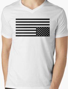 Black On White Mens V-Neck T-Shirt