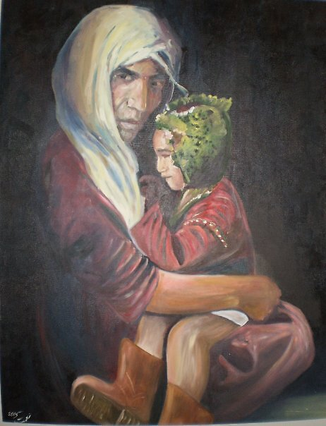 afghani woman with his child by Nnaseri
