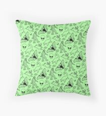 Cryptid Pattern (Green Background) Throw Pillow